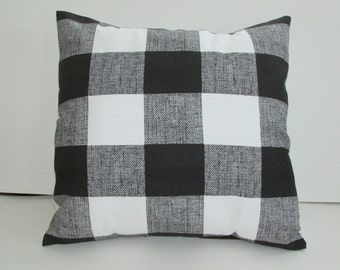 Black and White Check Pillow Cover,  Large Check Print With Black And White Accent Pillow Cover