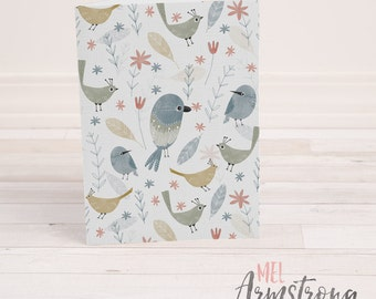 Any Occassion Greeting Card  - Floral Birds Illustration - A6
