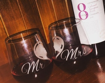 One Pair of Personalised Mr and Mrs Etched Wine Glasses