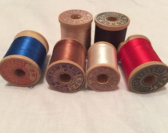 6 Wood Spools, Vintage Belding Corticelli, Clark's and Berkshire & Becket, Button Hole Twist, 100% Silk