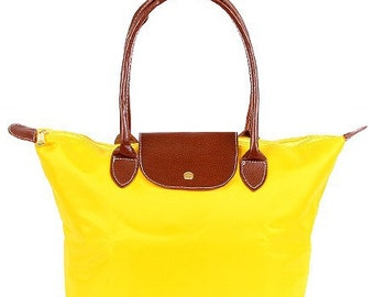 Personalized Yellow Solid Leather Handle Medium Foldable Shopping Tote, FREE Monogram & FREE Shipping 810090L-MD