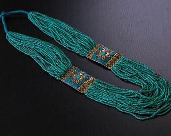Turquoise  necklace, Seed Beads Necklace, Gift for her, Handmade, Statement Necklace, Nepal Necklace, Tibetan necklace