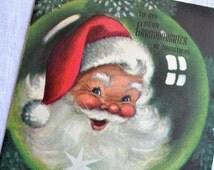 Vintage Christmas Card - Santa Merry Christmas Granddaughter - Used Marjorie Cooper