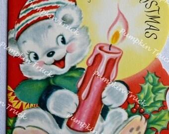 Vintage Christmas Card - 1950s Teddy Bear Candle - Unused