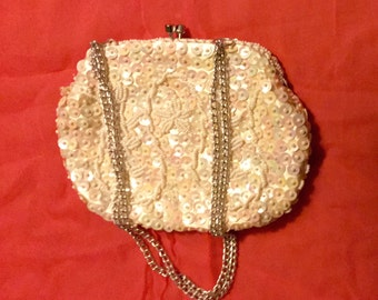 Vintage 1950s White Hand Beaded Purse - Off White Beads w/ Iridescent Sequins - Made in Hong Kong