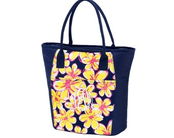 Beach Floral Lunch Totes, Large, Insulated, Office Lunch Totes Monogrammed