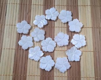 Full Strand White MOP Carved Flower Beads