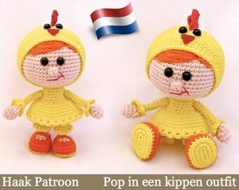 116NLY Meisjes pop in kippen outfit - Amigurumi Haak Patroon PDF file by Stelmakhova Etsy
