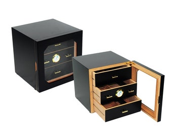 Luxury 40 count cigar humidor cabinet piano paint black