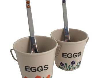 Egg Cup Sets with Spoons in various colours. Free postage in the UK. Easter Gifts