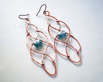 Copper earrings and grey stone