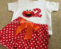 Elmo Red Polka Dot Shorts and T-Shirt / Onesie with Big Number Embroidered Applique Personalized Birthday Outfit Girls Set