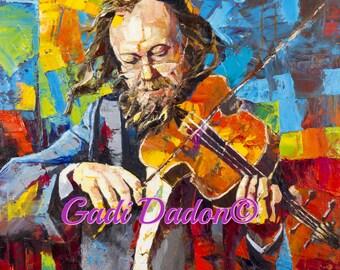 Jewish Art Print/Violinist /Canvas/paper Print/ Violin/Jewish Musician /Jewish Musician/ Oil Print/ Music art/Israel/Gadi Dadon