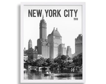 Historic New York City Print City Art Hipster Art Print Large Poster Central Park Art Old Photo Old Black and White Decor Photography Print