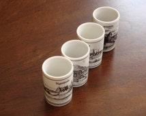 Altenkunstadt Germany Pen and Ink on Porcelain  Shot Glasses (3)!
