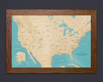 Usa Travel Map Etsy - Us map picture frame