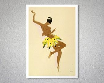 Josephine Baker Banana Skirt  - Vintage Entertainment  Poster - Poster Print, Sticker or Canvas Print