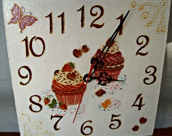 Wall clock /Sweet Cakes/ Kitchen Decor/Free Shipping