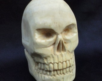 Carved Wood Skull Sculpture, Hand Carved Wooden Skull in Basswood, Skeleton Wood carving, Human Skull Caricature, Small Woodcarving Skull