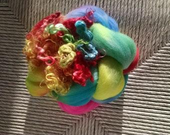 Batt- Art Batt - Roving - Spinning - Fiber - Handdyed - Top - Felting Fiber - Spinning Fiber - Merino Top - Mohair Locks - Rainbow Bright