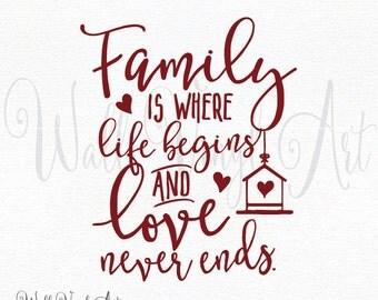 Family is where life begins and love never ends Vinyl Decal- Wall Art, Wall decor, Calligraphy art, Wall Vinyl Art, Inspirational Art