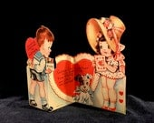 Vintage Valentine's Day Card, Die Cut, Little Girl and Girl, Fold Out Card, Red Hearts, Dog, Mid Century Valentine, USA,  Circa 1940s