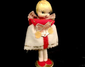 Vintage Angel, Spun Cotton, Felt Angel,  Red and White, Noel Angel, Delta Novelty,  Caroling Angel Ornament, Made in Japan, Circus 1950s