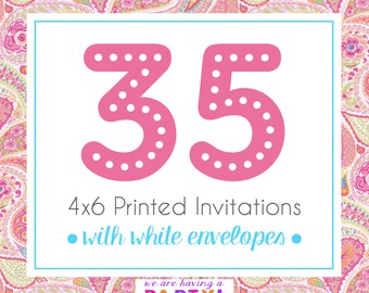 35, 4x6 Invitations with White Envelopes Professionally Printed