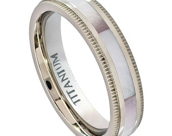 Titanium Mother of Pearl Comfort Fit Ring - 3mm - Engraved