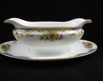 Noritake Imperial China Gravy Boat with Attached Underplate Floral Sprays