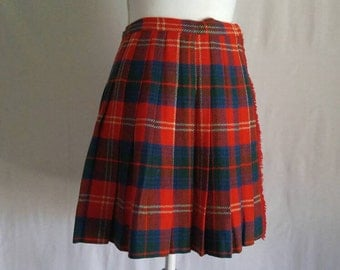 Plaid Pleated Skirt, Schoolgirl Skirt, Wool Skirt, Wool Plaid Skirt, Vintage Plaid Skirt, Vintage Wool Skirt, Wrap Skirt