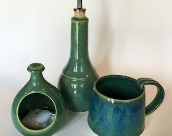 olive oil cruet, oil cruet, pottery, green gloss glaze
