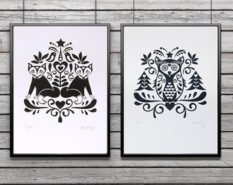 Scandinavian Folk Art Owl and Fox - limited edition hand-pulled screenprint