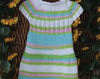 Spring baby dress, knit summer baby dress, infant knit cotton dress, Easter dress, white, green, pink, aqua, baby knitwear