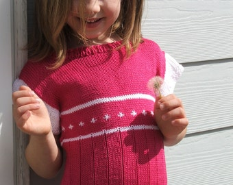 Little girl's bright pink sweater, pink and white knit top, cotton knit tunic