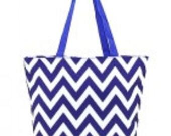 CHEVRON Blue Tote bag beach bag with Monogram (Embroidery) -Bridesmaid Gift, Teachers, Mom