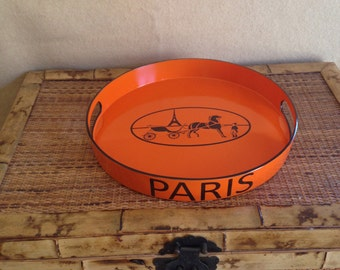 """Equestrian Paris Orange and Brown Bar Tray Serving Tray Hand Painted 15"""" 4 Weeks Lead Time"""