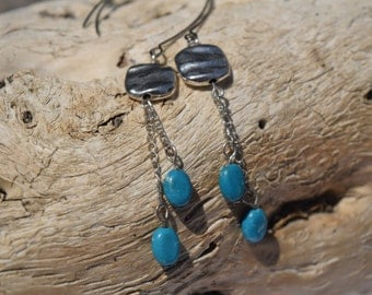 Silver and Blue Dangle Earrings - Silver Earrings - Blue Dangle Earrings - Silver and Blue Earrings