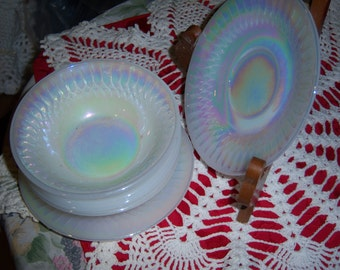 Vintage 6 Pieces of Lusterware made by Federal Glass from the 60s 4 Dessert Bowls and 2 Saucers Heat Proof and made in USA