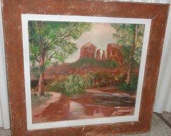 Vintage Oil Painting Redrocks/ Trees/Signed Mary Sallek
