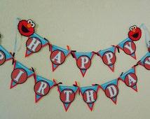 Sesame Street  Birthday Banner, High chair, Elmo Birthday Banner