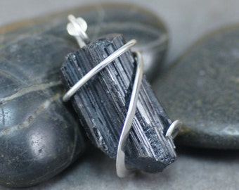 Textured Black Tourmaline Crystal Cold Forged Sterling Silver Pendant
