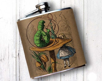 PREMIUM Flask - Alice in wonderland, Hookah, Cannabis smoke, flask for maid of honor, gift for bride, best mad gift