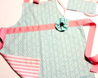 girl doll apron set, matching aprons, American girl apron, aprons for girls, matching aqua and pink apron set for girls and 18 inch dolls