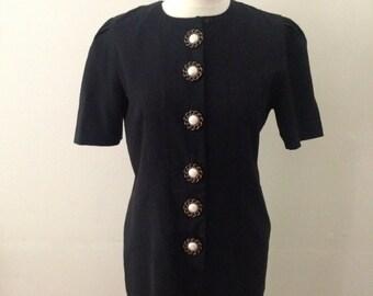 1980's Black Shift Dress Button Down Front UK Size 12-14