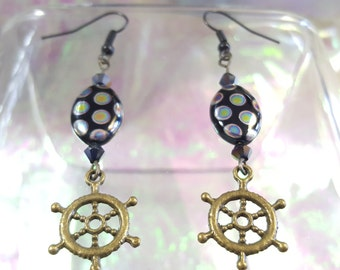 RUDDER in dangling earrings with peacock and black bicone metal Czech glass beads.