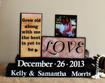 Grow Old Along With Me - Bride and Groom Gift - Personalized Unique Wedding Gift - Anniversary Gift - Engagement Gift - Wedding Blocks