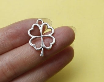 20 Four Leaf Clover Charms Antique Silver Tone Lucky Charms pendant for necklace  24*17mm