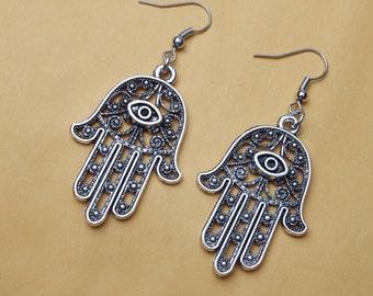 Silver Hamsa Hand Earrings, Hamsa Earrings, silver Earrings, Protection Earrings,Evil Eye Jewelry,Hand Jewellery