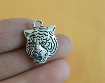 Bulk wholesale 1pcs/5pcs/10pcs/20pcs Tiger Charms Antique Silver Tone animal charm pendant 23*17mm